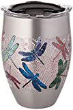 Tervis 1298863 Dragonfly Mandala Stainless Steel Insulated Tumbler with Clear and Black Hammer Lid, 12oz, Silver