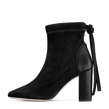 Botines Tacón Cuadrado Mujer Zapatos Altos Talones,MWOOOK-31 Moda Tacones Altos Casual Elegante