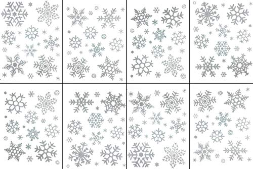 Mr.lucky Artwork Glitter Christmas Snowflake Window Clings 156 pcs Reusable Sparkly Static Window Clings