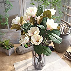 Remiel Store Artificial Fake Magnolia Bridal Bouquet Wedding Party Home Decor (Beige, 75cm height)