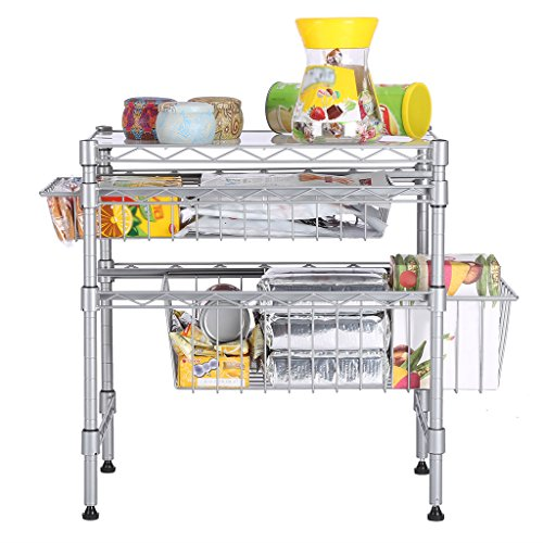 Rackaphile Stackable 2 Tier Sliding Basket Organizer Drawer, Under Sink Cabinet with Adjustable Leveling Feet, Rack Shelf for Bathroom Kitchen Closet Office Desktop, Silver Metal Sink Cabinets