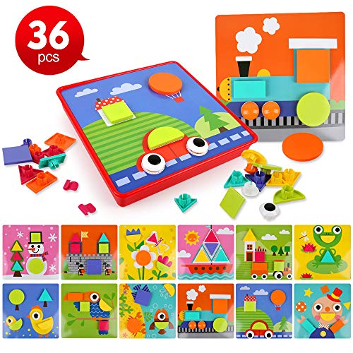 Early Learning Discovering Button Art Toys for Toddlers,Color & Geometry Shape Matching Mosaic Pegboard Games Educational Toys for Preschool Kids