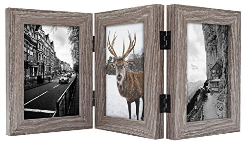 (Frametory, 4x6 Inch Hinged Picture Frame with Glass Front - Made to Display Three 4x6 Inch Pictures, Stands Vertically on Desktop or Table Top (4x6 Triple, Grey))
