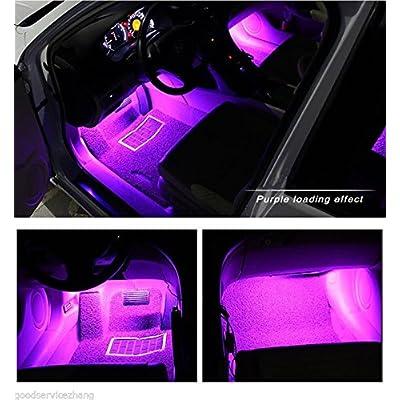 Car LED Strip Light, EJ's SUPER CAR 4pcs 36 LED Car Interior Lights Under Dash Lighting Waterproof Kit,Atmosphere Neon Lights Strip for Car,DC 12V(Pink): Automotive