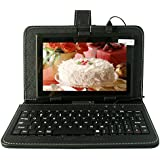 Yuntab Q88 Tablet de 7'' (WiFi, Quad-Core, Android 4.4.2 KitKat , HD 1024x600, 32 GB, 8GB ROM, Doble Cámara, Google Play, Protección de Silicona) con teclado y protecdor de pellejo- Color negro