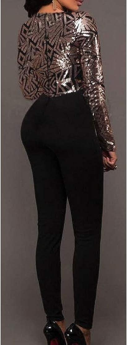 Wofupowga Women Zip V Neck Skinny Stretch Sequins Stitch Bodysuit Jumpsuits