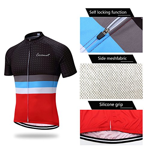 Coconut Men's Cycling Jersey Short Sleeve Road Bike Biking Shirt Bicycle Clothes (Red/Black, 3XL) by Coconut Ropamo (Image #3)