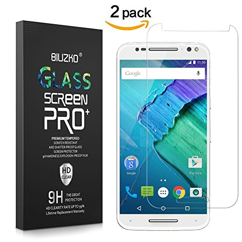 [2 Pack]Moto X Pure Edition Screen Protector, BIUZKO 9H Hardness Scratch Proof Tempered Glass,Bubble Free Install 0.33mm HD Ultra Clear Film for Motorola X Style with Lifetime Replacement Warranty