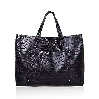 The Lovely Tote Co. Women's Crossbody Bag Pocket Big Capacity Tote,Black