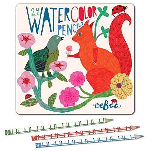 eeBoo Watercolor Colored Pencils, in Squirrel Tin Case, Set of 24