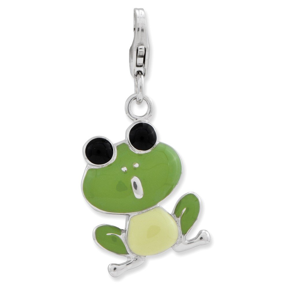 15mm x 40mm Jewel Tie 925 Sterling Silver Enameled Frog with Lobster Clasp Pendant Charm