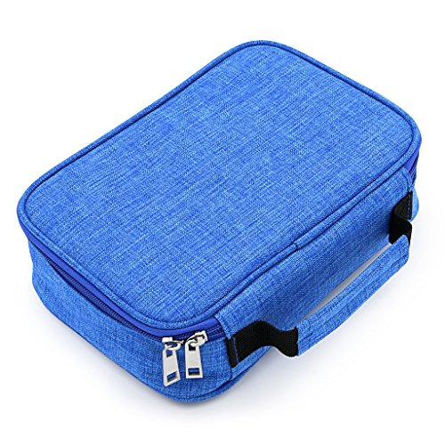 - (Update Version) Painting Pencils Case with Zipper 72 holder Colored Art Pen Case Canvas Protection Drawing Case (Blue)