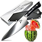 ZELITE INFINITY Chef Knife 8 Inch >> Razor-Edge Series >> Best Quality Japanese AUS8 High Carbon Stainless Steel, Black Pakkawood Handle, Full-tang, Deep Chefs Blade, Ultra-Premium Leather Sheath