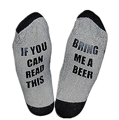 Easyhon Christmas Unisex Women Men wine full cotton socks Xmas If You can read this Socks(Gray,One Size)