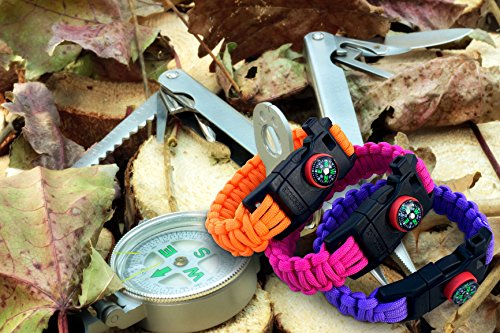 550-Paracord-Survival-Bracelet-5-in-1-100Nylon-Military-Grade-by-Exxceed-Red-Black-Camo-Medium