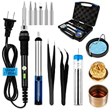 Smraza Soldering Iron Kit 60W 110V Adjustable Temperature Controlled with ON/OFF Switch, Solder Sucker, Solder Wire, 5pcs Iron Tips, Tweezers, Soldering Iron Stand, Soldering Tip Cleaner with Carrying Case