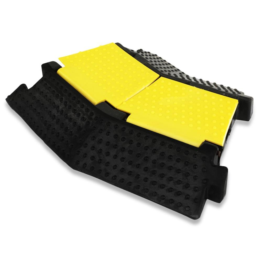 Pyle Premium Cable Protector, 2 Channel Speed Bump, Capacity 2000lbs, Dual Channel Cable Hose Protector, Left-Turn Cable Ramp, Cord/Wire Concealment Protection Track (PCBLCO32)