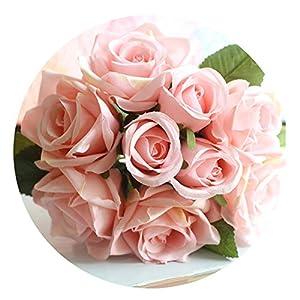 Colorful Rose Flowers 6Pcs Head+3Pcs Bud Wedding Bride Bouquet Silk Decorative Flower Decor Rose Flower 109