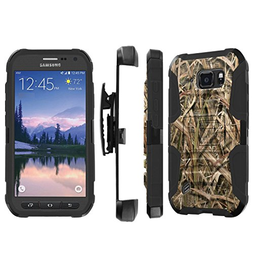 Samsung Galaxy ]S6 Active] G890 Case, [NakedShield] [Black/Black] Heavy Duty Holster Armor Tough Case + [Screen Protector] - [Grass Camouflage] for Samsung Galaxy [S6 Active] G890