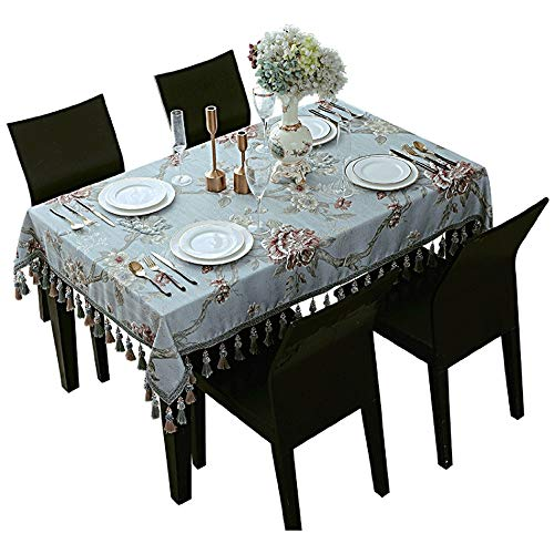 min MinMin Tablecloth Rectangular Blue Embroidered Tassel Table Cloth Oval Decorative Table Cloth Mahogany Coffee Table Dust Cover Table Cloths Rectangular (Size : 140x140cm)