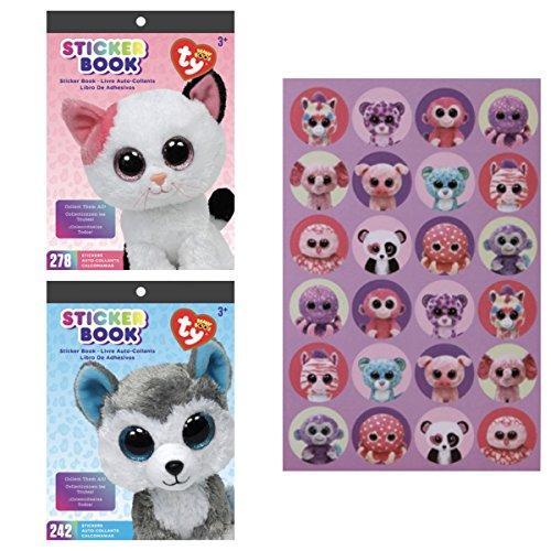 Two (2) TY BEANIE BOOS Animals STICKER BOOKS - MUFFIN the Pink Cat KITTEN & SLUSH the HUSKY Dog PUPPY (Total 520 Stickers) & 48 Bonus Stickers - TEACHER Classroom Incentive ACTIVITIES Scrapbooking -