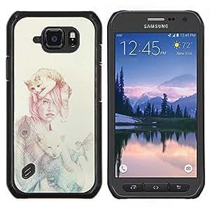 EJOOY---Cubierta de la caja de protección para la piel dura ** Samsung Galaxy S6Active Active G890A ** --Mujer Gato