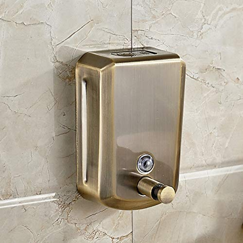YJ YANJUN Bronze Soap Dispenser Wall Mounted Manual Surface-Mounted Stainless Steel Liquid Soap -