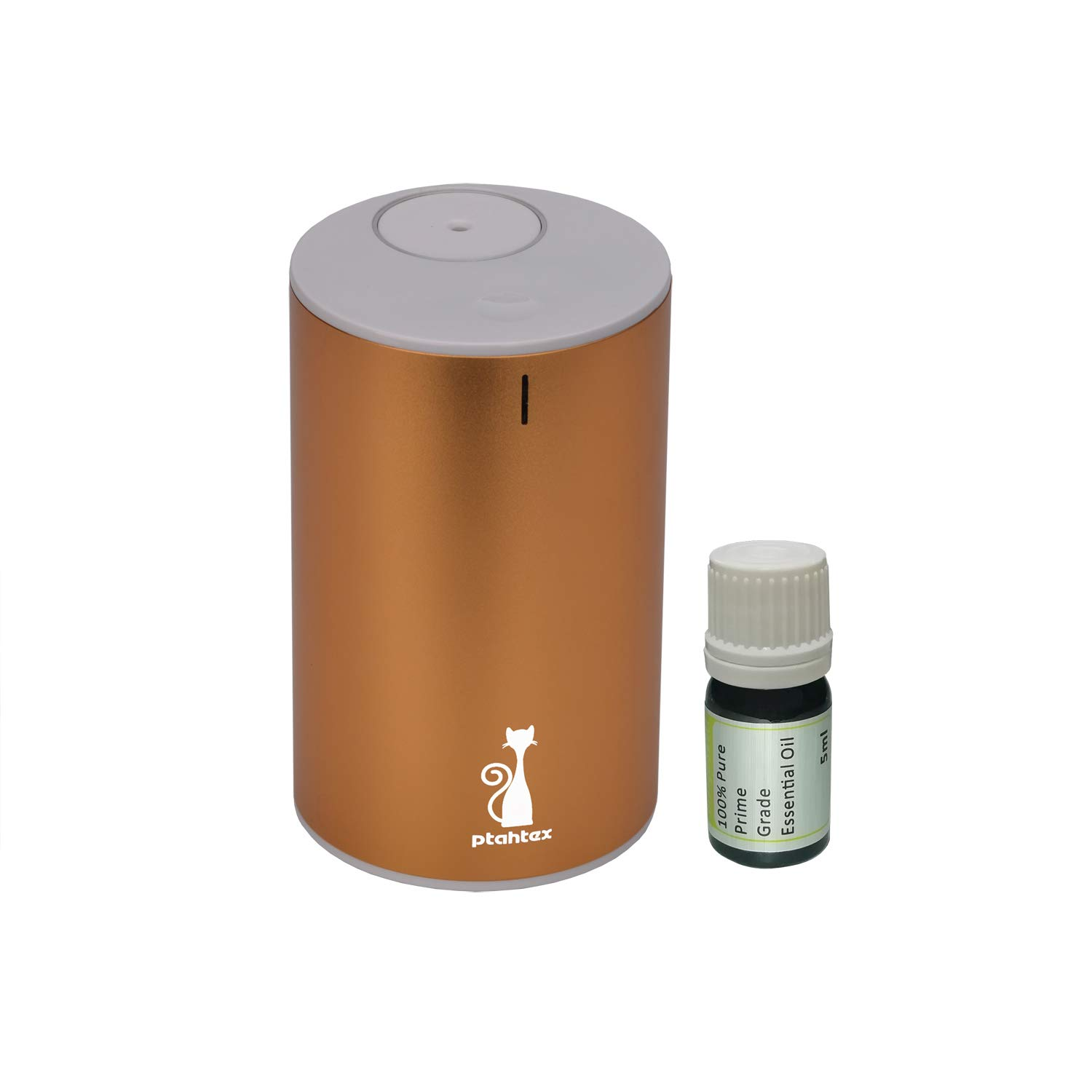Essential Oil Diffuser, PtahTex Big Nebulizing, Waterless Battery Operated, Aromatherapy Atomized, Gold, Office, Home, Car