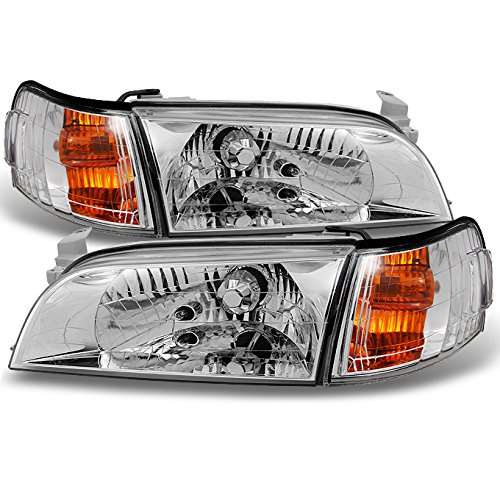 For 1993 1994 1995 1996 1997 Corolla JDM Version Euro Clear Headlights + Amber Corner Signal Lamps - Headlight Headlamp Toyota Tercel