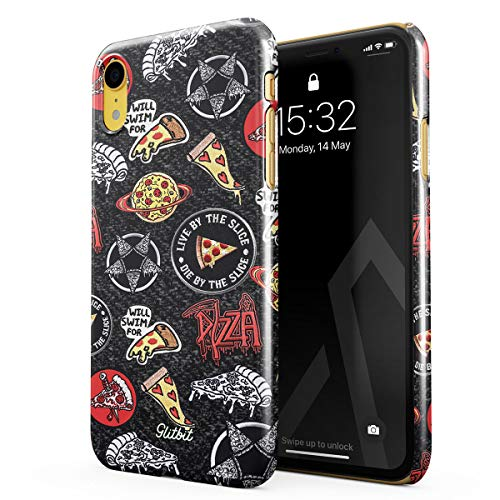Glitbit Compatible with iPhone Xr Case Pizza Slice Food Patches Pattern Embroidery Crust We Trust Food Addict Junk Food Rip Diet Thin Design Durable Hard Shell Plastic Protective Case Cover
