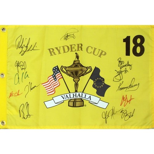 Ryder Cup Valhalla - 2008 Ryder Cup (Valhalla) Golf Pin Flag Autographed by 13 Team USA Members #2