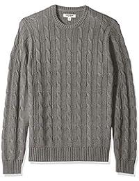 Men's Soft Cotton Cable Stitch Crewneck Sweater