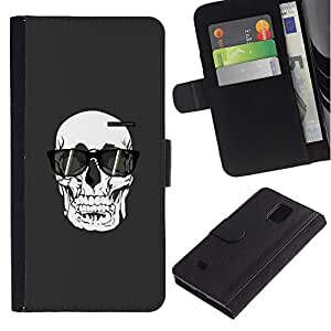 Paccase / Billetera de Cuero Caso del tirón Titular de la tarjeta Carcasa Funda para - Sunglasses Death Art Painting - Samsung Galaxy Note 4 SM-N910