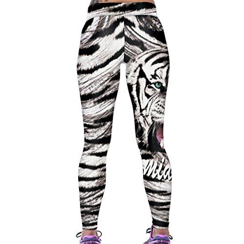 Jiayiqi De Las Mujeres Polainas De Impresión Digital Elásticos Pantalones Flacos Ocasionales De Capris Tigre 2