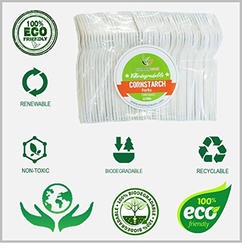 Forks - by EcoMojiWare.com - Certified Compostable Biodegradable Cutlery (100 count), made from Corn Starch