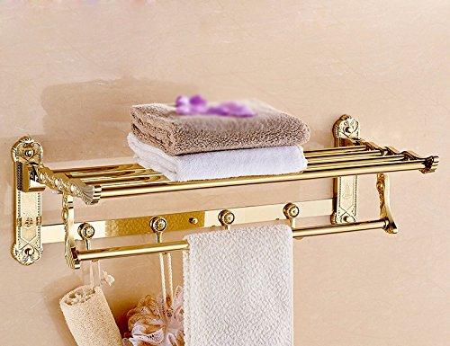 GGHYYO Towel shelf shower room kitchen Shelf Carved Holder Flowers Foldable Gold Color 62x26x20