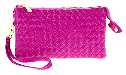 Proya Collection Classic Soft Woven Leather Wristlet Clutch (Hot (Hot Bodies Clutch)
