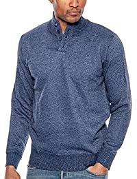 Men's Long Sleeve Henley with Button Collar Pullover Sweater