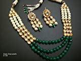 Traditional Kundan Green Beads Indian Ethnic Necklace Earring Women Jewelry Set