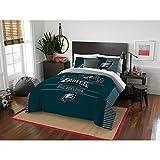 3 Piece NFL Eagles Comforter Full Queen Set, Green Multi Football Themed Bedding Sports Patterned, Team Logo Fan Merchandise Athletic Team Spirit Fan, Polyester, for Unisex