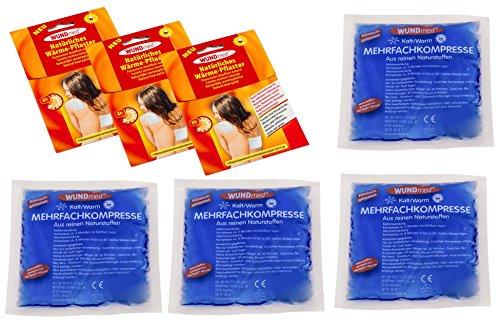 Delor Sportler Set 3 Stück Wärmepflaster Schmerzpflaster + 4 Stück Kalt Warm Mehrfach Kompresse Rücken Schulter Knie