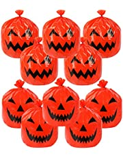 Deloky 10 PCS Halloween Large Pumpkin Lawn Bags-24 x 30 Inch Fall Plastic Leaf Trash Bags with Twist Ties, Pumpkin Pattern Lawn Bags for Fall Decorations Outdoor Halloween