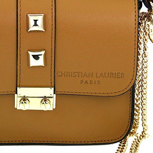 Christian Laurier - Sac à main en cuir modèle Jewel camel - Sac à main minaudière haut de gamme fabriqué en Italie en cuir véritable