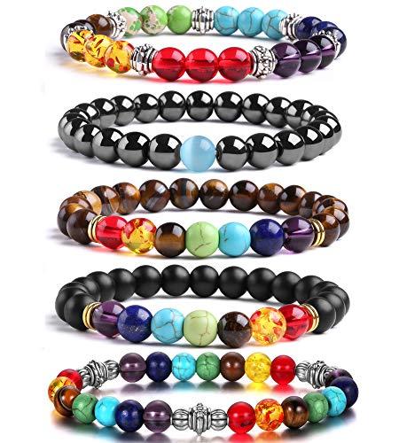 Beads Bracelet J.Fée 5 Pack 7 Chakras Stretch Elastic Bracelets Healing Gemstone Crystals Bracelet Yoga Mala Chakra Bracelet Natural Beaded Bracelets Mother's Day Gift Birthday Gift for Women Men Girl