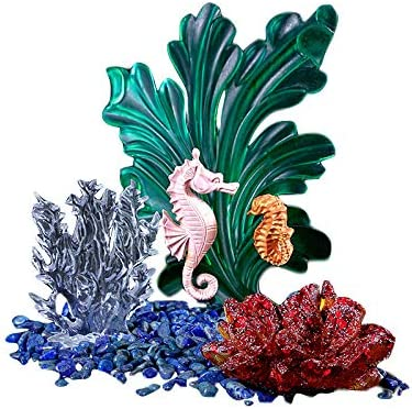 Yalulu 4Pcs Seahorse Seagrass Coral Micro Landscape Ocean Silicone Mold Resin Molds Jewelry Silicone Molds for Resin Crafts DIY Home Decoration