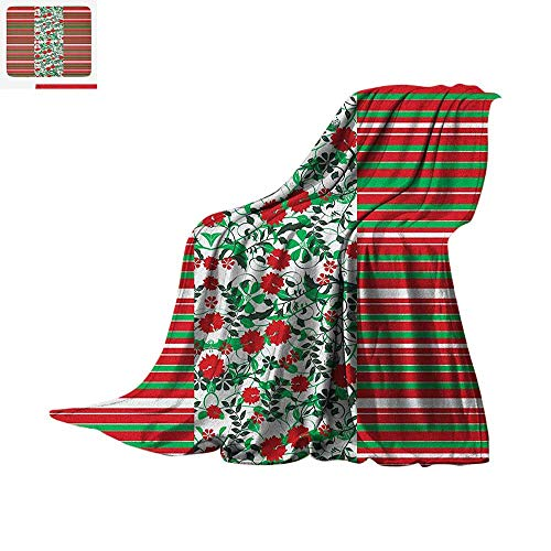 Christmas Super Soft Lightweight Blanket Poinsettia Flowers Fresh Green Branches Natural Swirls Border on Striped Backdrop Custom Design Cozy Flannel Blanket 50
