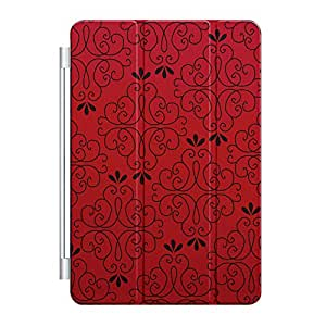 CUSTOM Smart Cover (Magnetic Front Cover / Stand) for Apple iPad Mini 1 / 2 / 3 - Black Red Floral Pattern