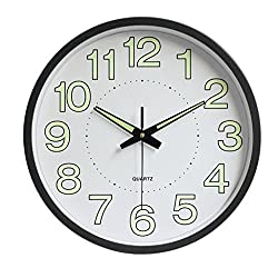 Baoblaze Glow-in-the-dark 12inches Large Wall Clocks Luminous Silent Quiet Wall Quartz Clock, Battery Operated - Black