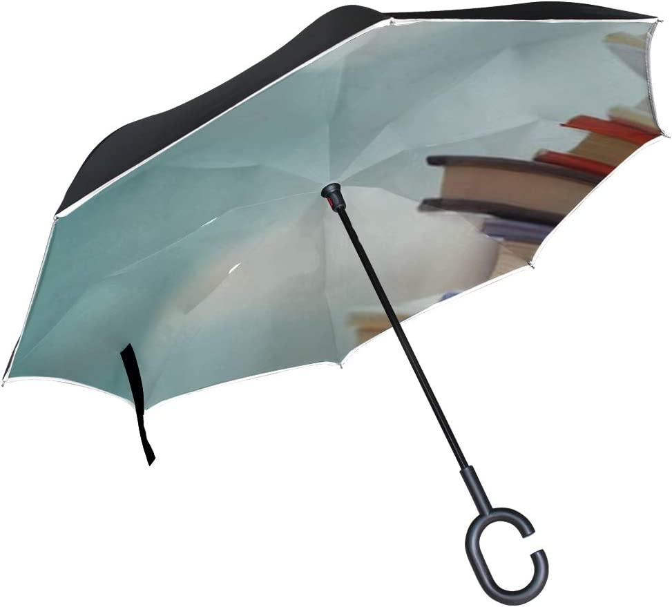 Double Layer Inverted Inverted Umbrella Is Light And Sturdy Book Stack Library Room Blurred Bookshelf Reverse Umbrella And Windproof Umbrella Edge Ni