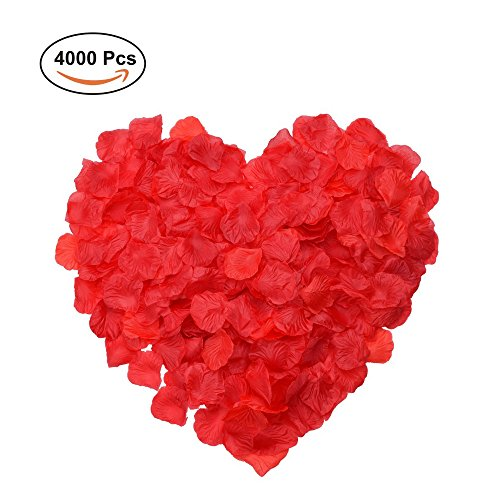 4000 Silk Roses (Silk Rose Petals, Febou 4000 PCS Red Artificial Rose Petals for Wedding Flower Decoration Wedding Party Favors Decoration Wedding Bridal Decoration and Vase Home Decoration (4000pcs, Red))